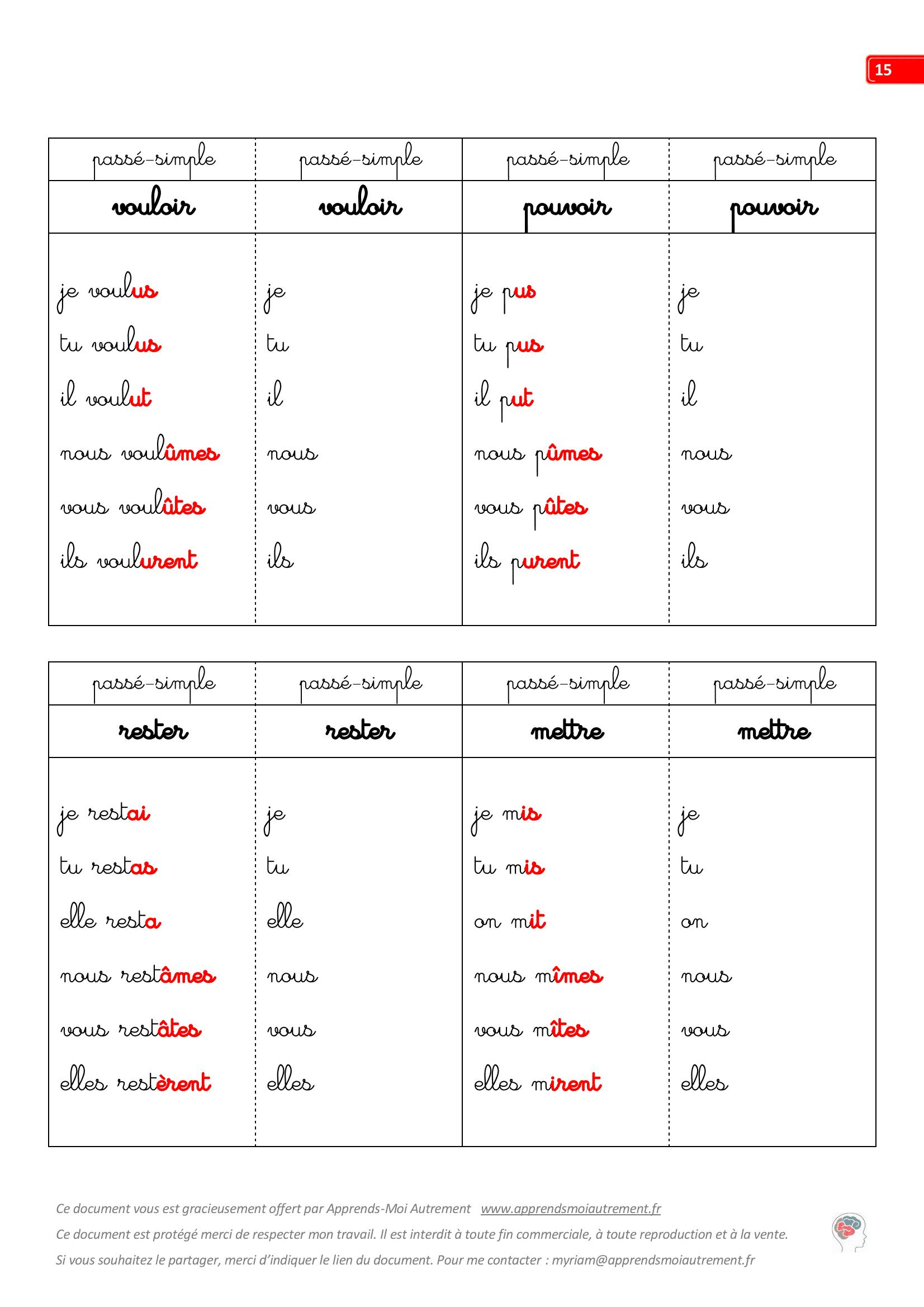 Fiches De Conjugaison A Completer Apprends Moi Autrement