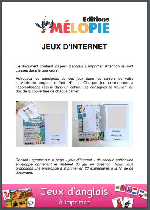 PDF avec les jeux à imprimer