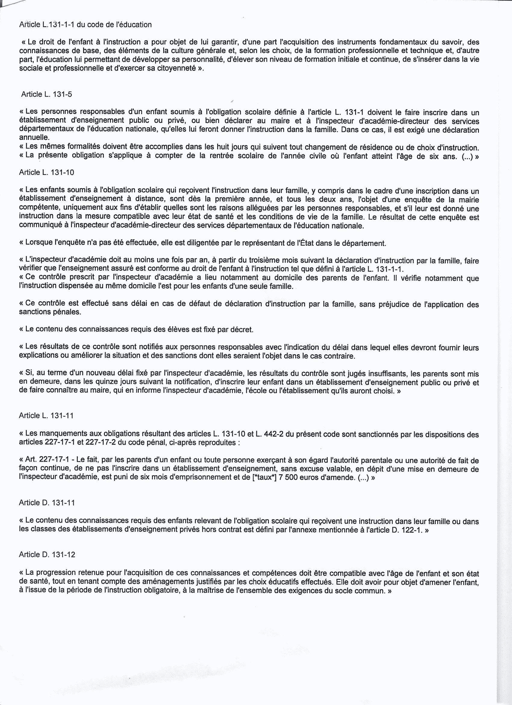 articles de lois pour déclaration IEF 2014
