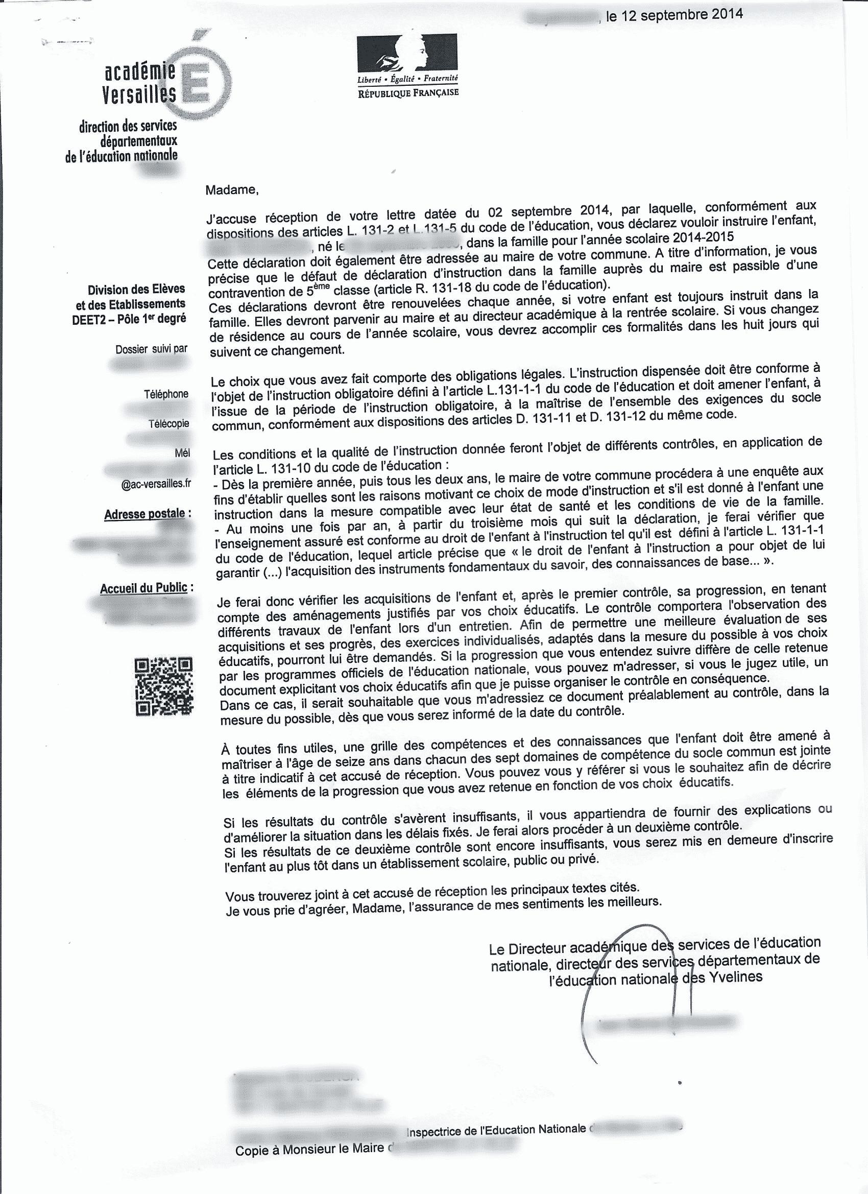attestation inspection académique de déclaration IEF 2014