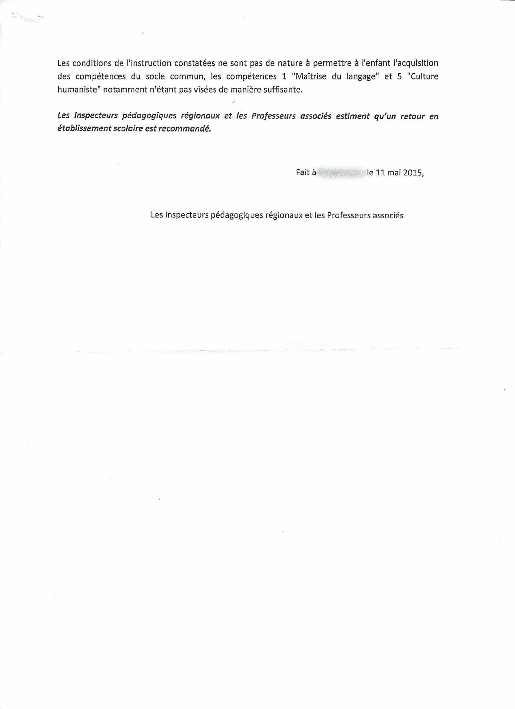 rapport IEF de l'inspection académique